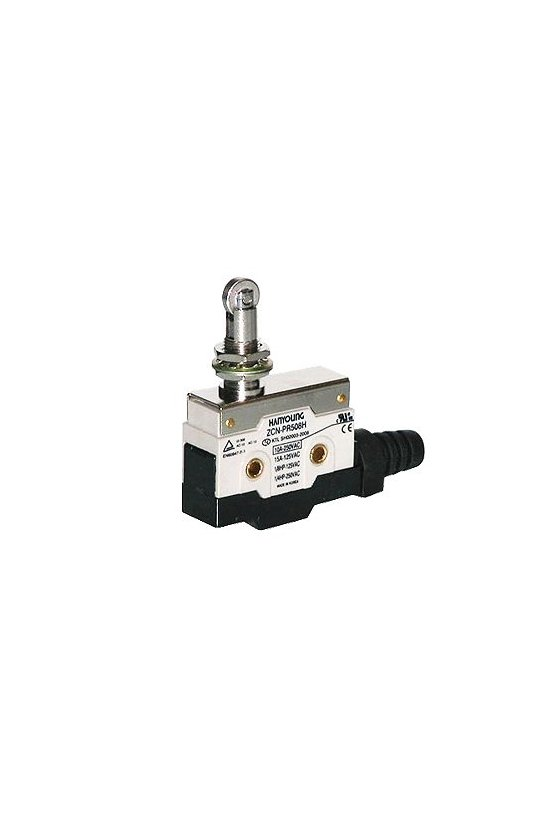 ZCN-PR508V Micro switch sellado con pivoté y rodillo vertical 1NA+1NC 10amp 250vca