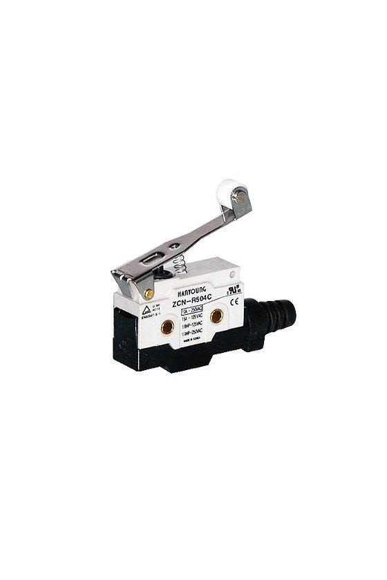 Micro Switch sellado con brazo y rodillo largo 1NA+1NC 10amp 250vca ZCN-R504C