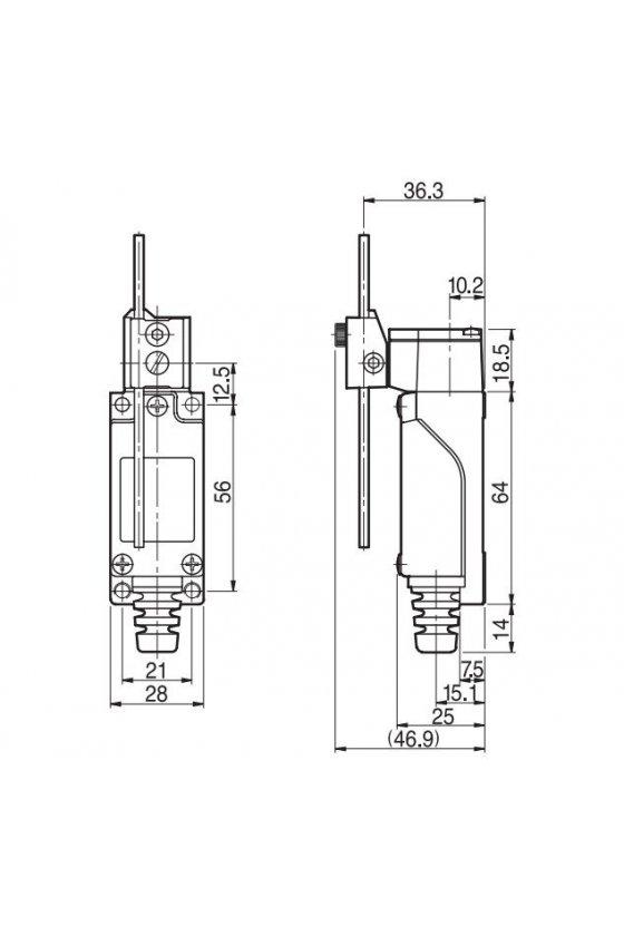 HYL807 Mini Limit Switch con actuador de varilla ajustable contacto 1NA+1NC 6amp