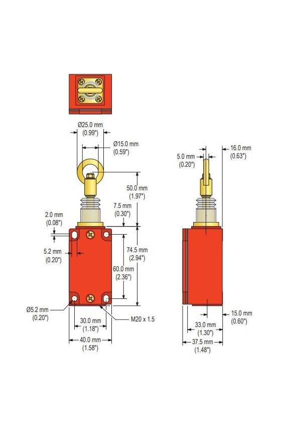 RP-LM40D-6(62057) PARO DE EMERGENCIA TIPO JALON DE CABLE 40mm