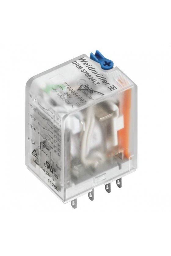 7760056069   DRM Relé 2 contactos conmutados con LED y botón de prueba DRM270024LT