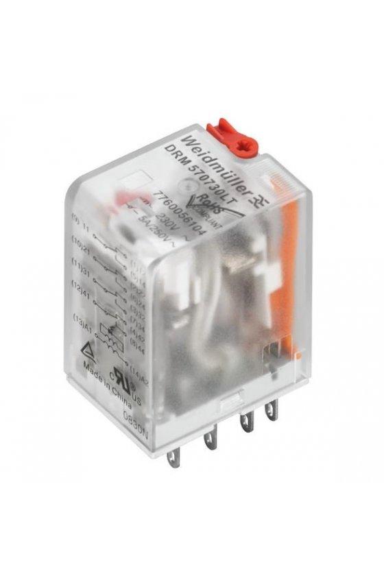 7760056190 DRM  Relé 4 contactos conmutados / contactos dorado con LED y botón de prueba DRM570730LT AU