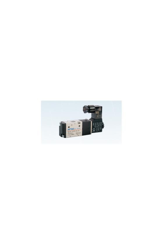 """3V110-06NO-FP Válvula 3 vías 2 posiciones solenoide simple puerto 1/8"""" Normalmente ABIERTA 12 VCD"""