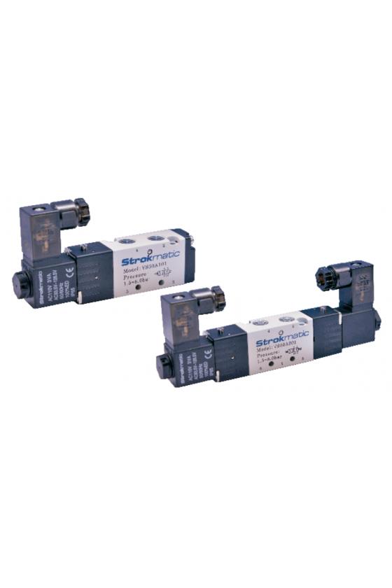 """VS50B301-FP Valvula 5 vías 3 posiciones centro cerrado puerto 1/8"""" 12 VDC"""