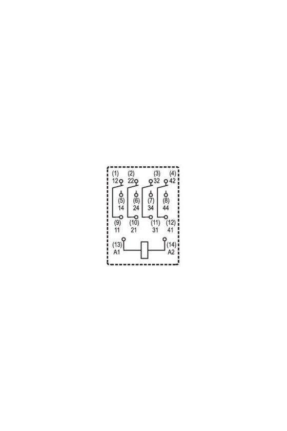 8054360000 Relé estándar 4 Contactos conmutados con pulsador de prueba RCM570012