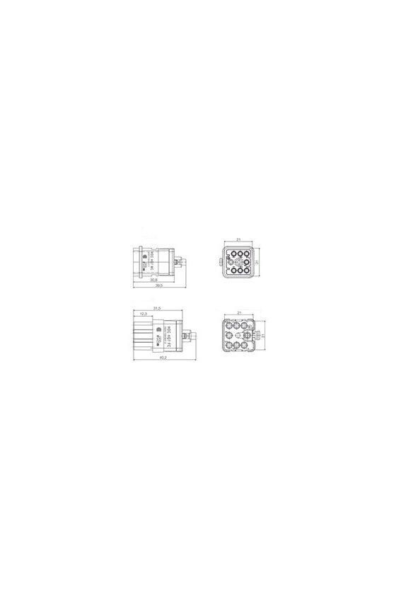 1003190000 Serie HQ - Conectores pequeños y potentes Conexión crimpada Grupo 1 7 polos HDC HQ 7 MC