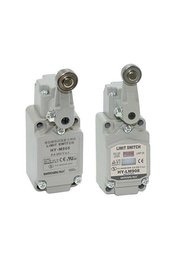 Limit Switch con brazo de rodillo ajustable contacto 1NA+1NC 6amp con Led HY-LM904A