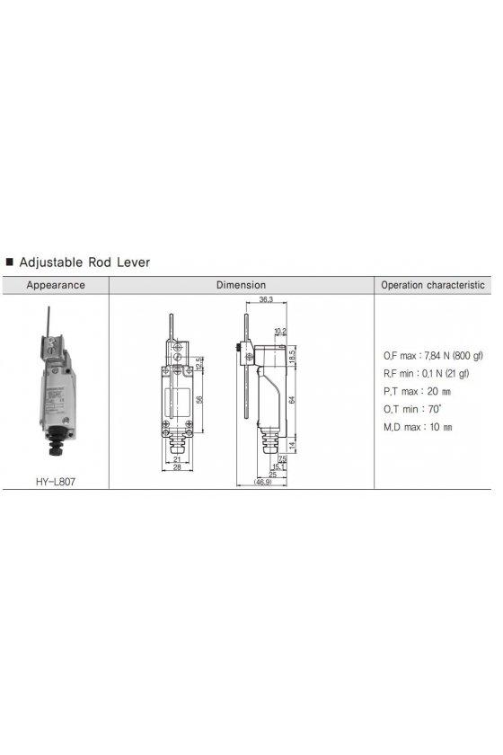 Mini Limit Switch con actuador de varilla ajustable contacto 1NA+1NC 6amp HY-L807