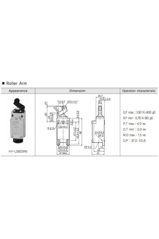 Mini Limit Switch con embolo de plástico  1NA+1NC 6amp 250vac HY-LS803RN