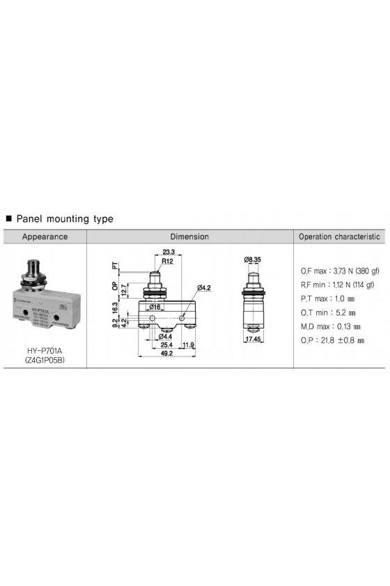 Micro Switch básico con pivoté 1NA+1NC 10amp 250vca HY-P701A