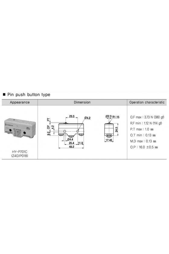 Micro switch básico con pulsador pin 1NA + 1NC  10amp 250vca HY-P701C