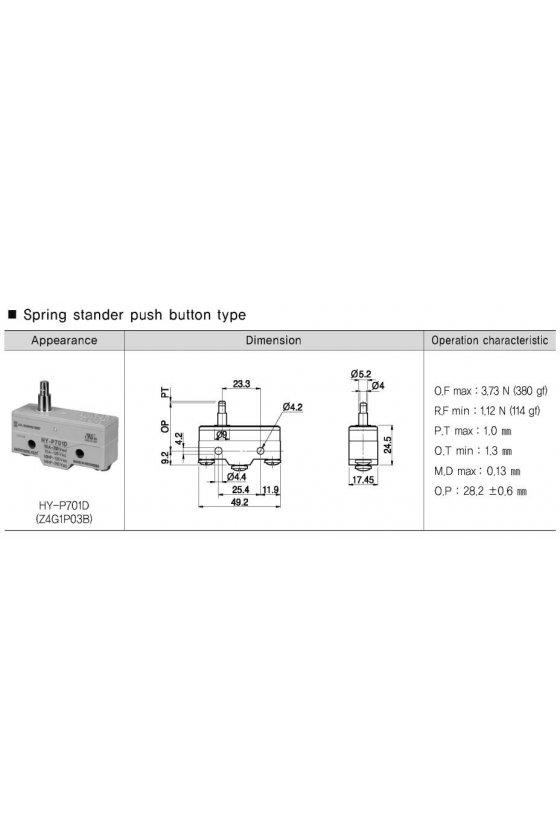 Micro switch básico con pivoté delgado 1NA + 1NC 10amp 250vca HY-P701D