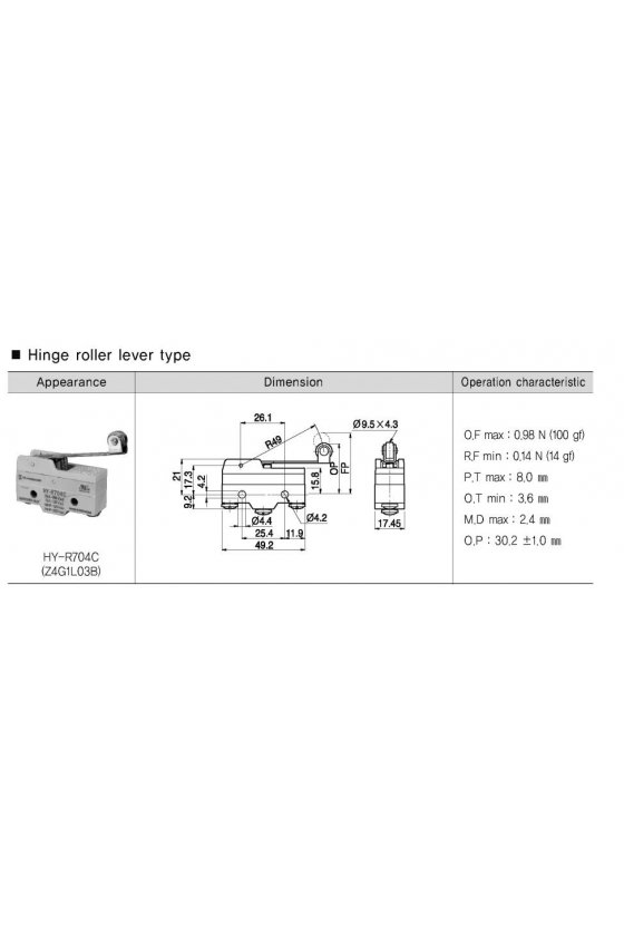 Micro Switch básico con palanca larga y rodillo 1NA+1NC 10amp 250vca HY-R704C