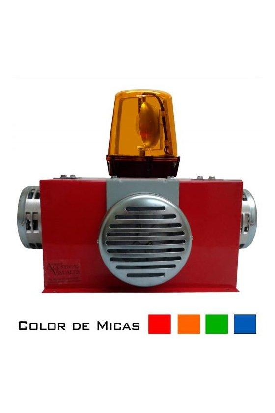 Alarma audiovisual de alta potencia con torreta giratoria SOS1200S4T