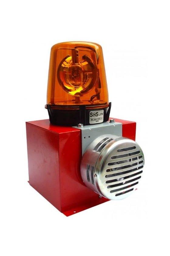 Alarma audiovisual torreta giratoria y con una sirena electromecánica integrada SOS1212ST