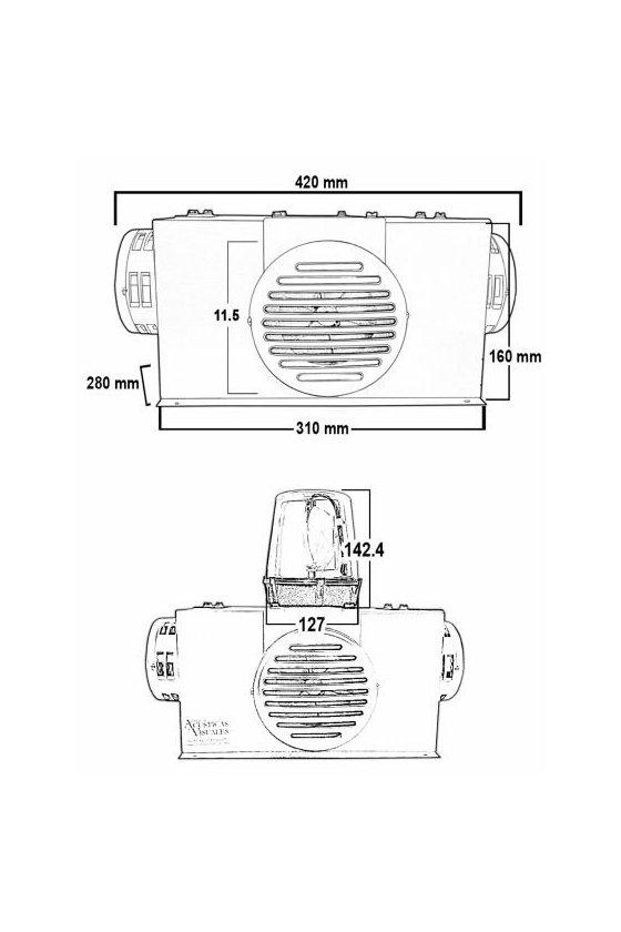 Alarma audiovisual de alta potencia, cuatro sirenas electromecánicas de 101dB cada una y torreta giratoria SOS1212S4T