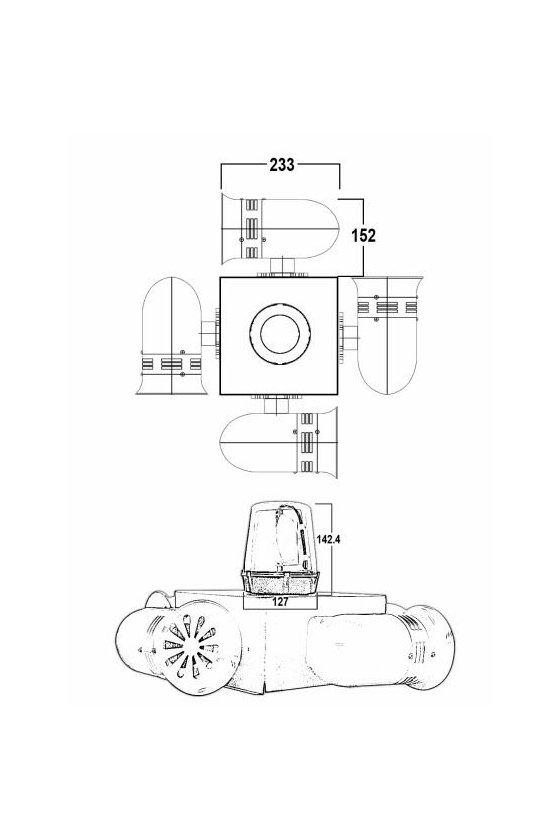 Alarma audiovisual de alta potencia, torreta giratoria y 4 sirenas electromecánicas SOS4S10T
