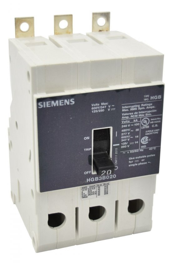 HGB3B020B Interruptor de circuito de marco g de bajo voltaje siemens con interruptor de marco g con térmico
