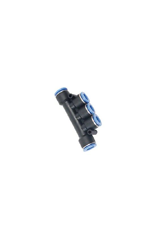 SKK6 Conector multiple triple para manguera de 6mm