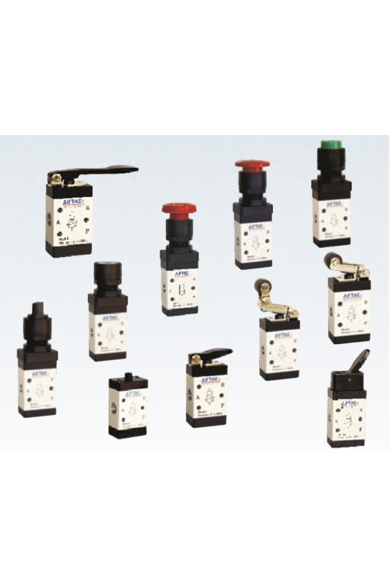 """M3PL110-06 Válvula de control 3 vías 2 posiciones botón de emergencía rojo enclave entradas 1/8"""""""