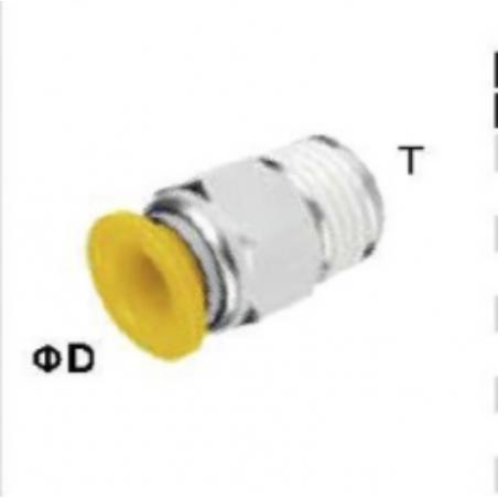 EPC1/4-02P Conector recto tubo 1/4 rosca 1/8