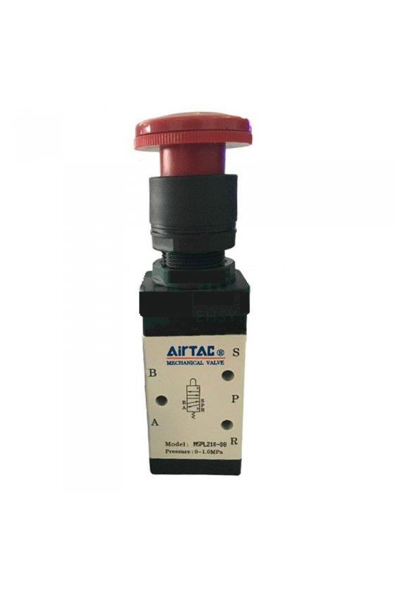 """M5PL210-08 Válvula de control 5 vías 2 posiciones botón emergencía rojo enclave entradas de 1/4"""""""
