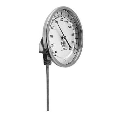 """TBM32025B2 termómetro bi metálico, caratula de 3"""", vástago de 4"""", conexión inferior, rango de 10° a 260° c, o 50° a 500° f"""