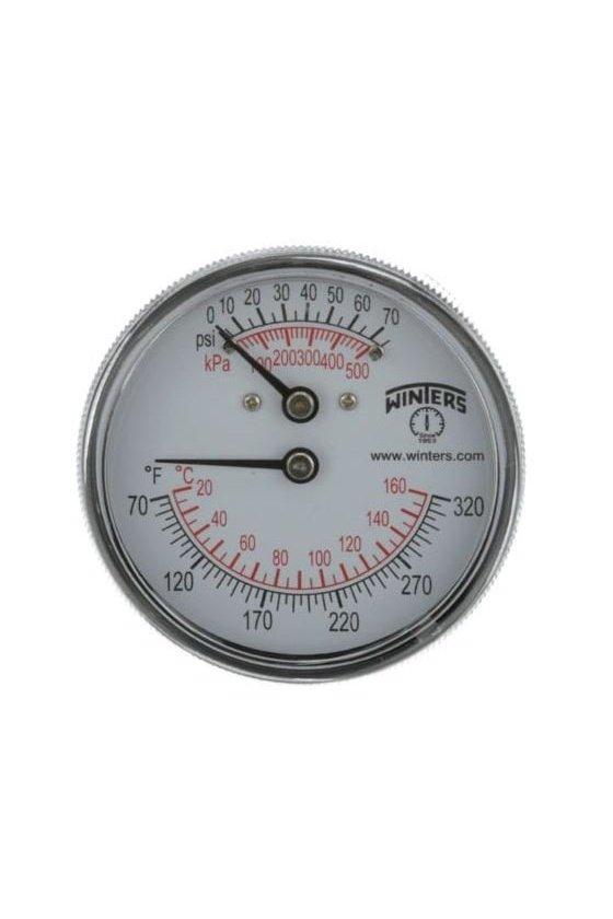 """TTD404 termómetro tridictador, caratula 2.5"""", vástago corto, conexión posterior, presión 0-75 psi doble escala, rango 20°-160° c"""