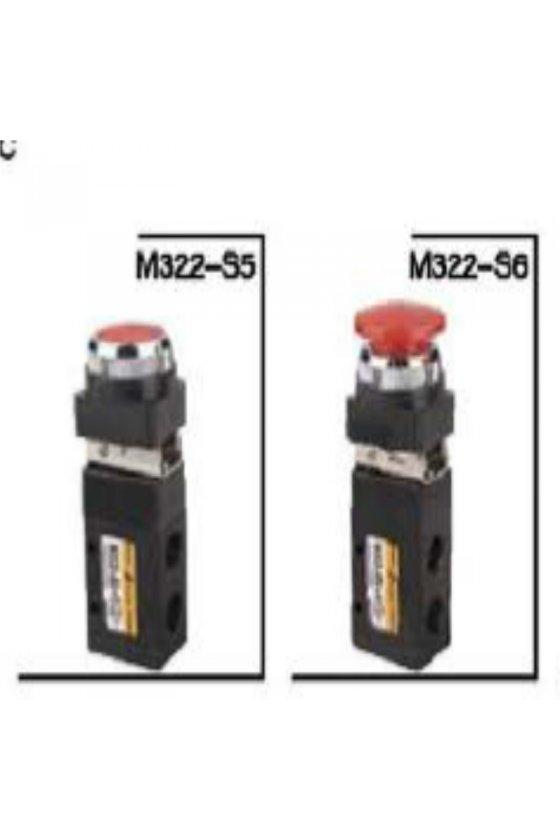M322-S6VALVULA SERIE M 3 VIAS 2 POS 1/4 BOTON HONGO