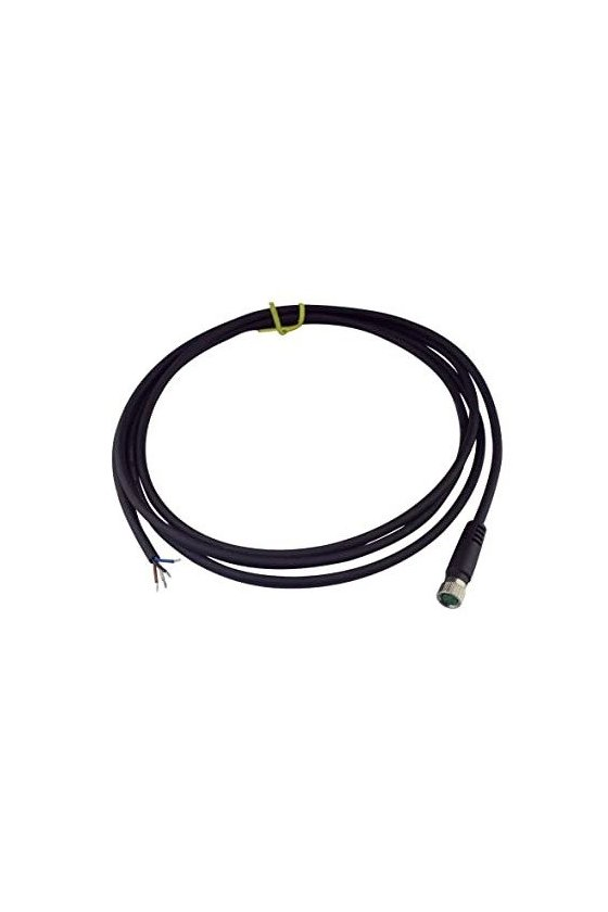 ZA12FAF04ST50CB34 Cable recto hembra 4pins conector m12 5mts largo negro