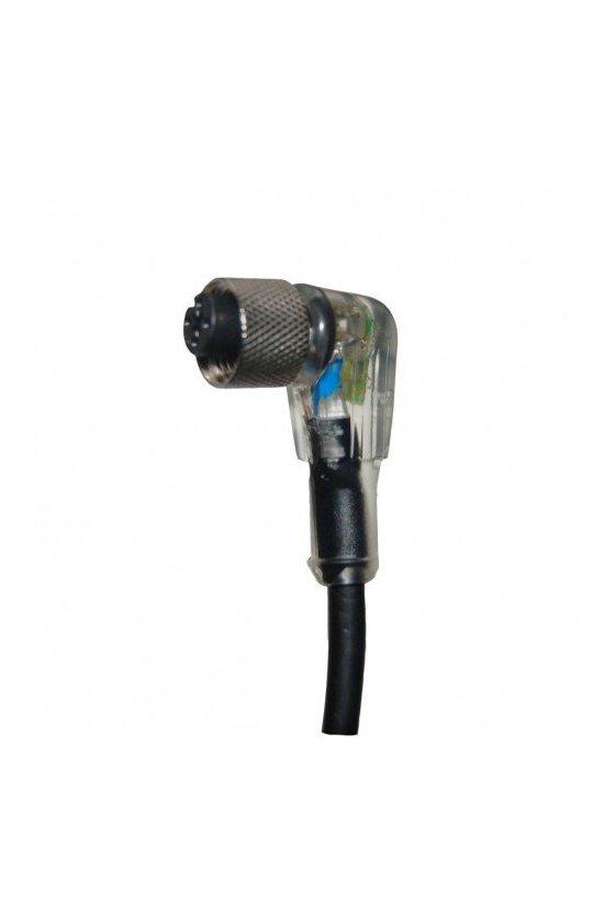 ZC12L4K4XNW5M  cable curvo hembra 4hilos npn conector m12 con led's 5mts Largo