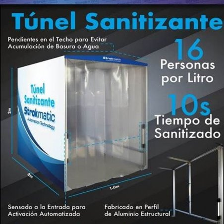 Túnel sanitizante tubular cubierto con lona - TUNELOPC1