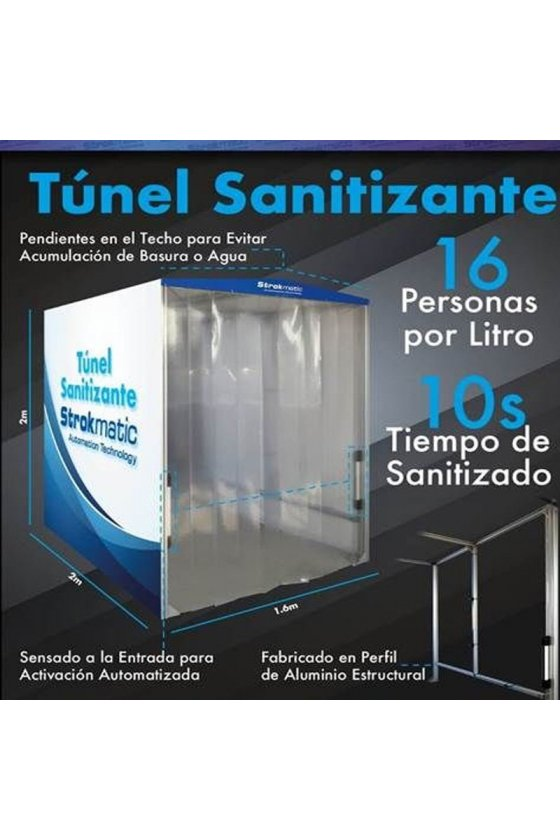 Túnel sanitizante tubular cubierto con lona - TUNELOPC2