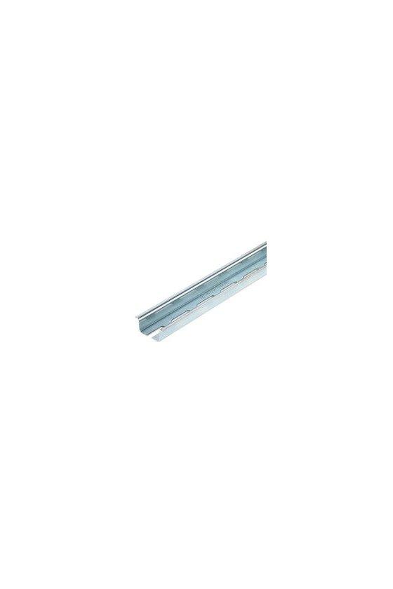 0236500000CM RIEL PERFORADO 2M, con coliso, Acero, chapado en zinc galvanizado y pasivado, TS 35X15 2M STEEL SLOTTED