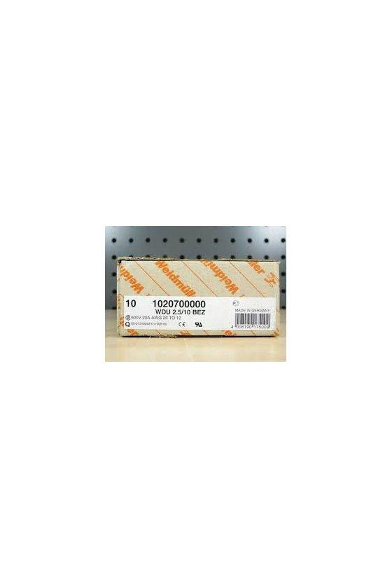 1020700000 Borne de paso, Conexión brida-tornillo, 2.5 mm², 500 V, 24 A, Beige oscuro, WDU 2.5/10 BEZ