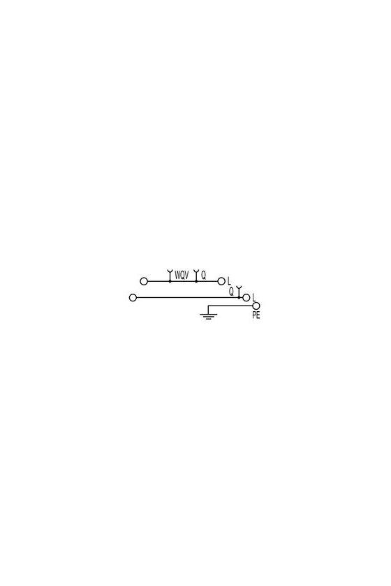 1030200000 Serie W, Borne de distribución con WQV, Sección nominal: 2.5 mm², Conexión brida-tornillo, WDL 2.5/L/L/PE