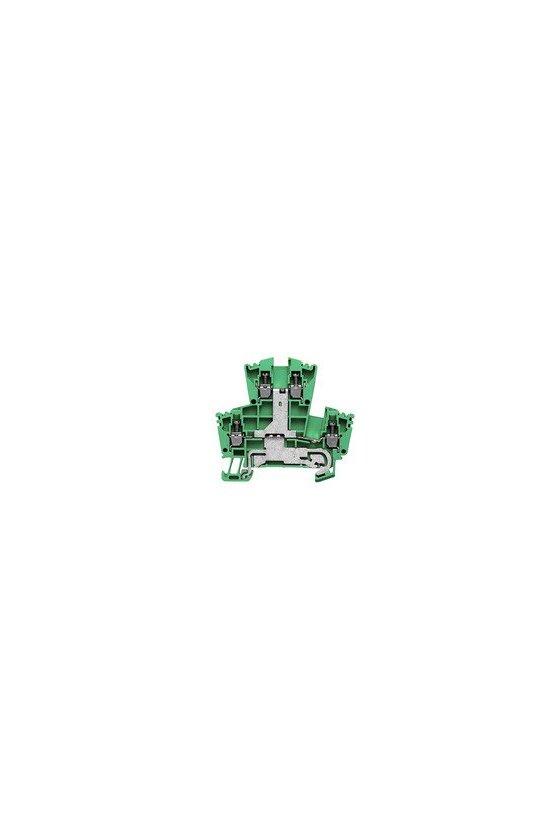 1036300000 Borne de tierra, Bornes de doble piso, Conexión brida-tornillo, 2.5 mm², 300 A (2,5 mm²), Verde/amarillo, WDK 2.5PE