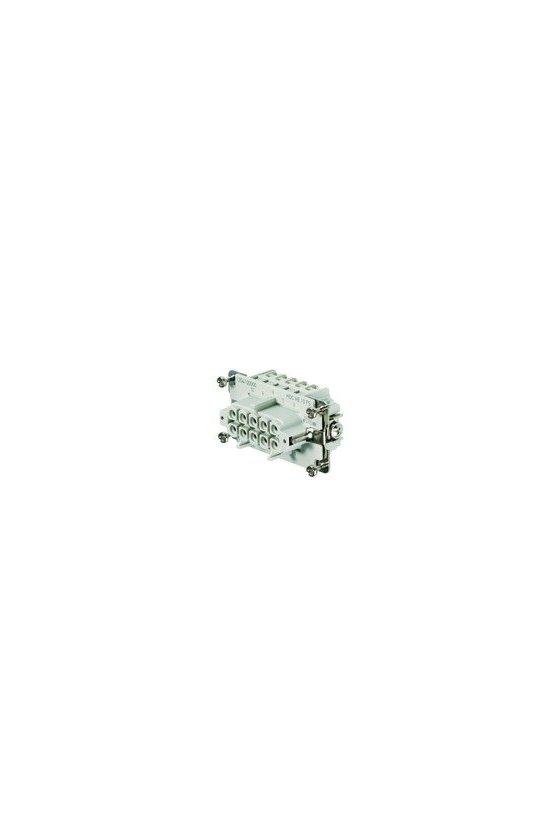 1204100000 Conector, Hembra, 500 V, 16 A, Número de polos: 10, Conexión brida-tornillo, Grupo: 4, HDC HE 10 FS