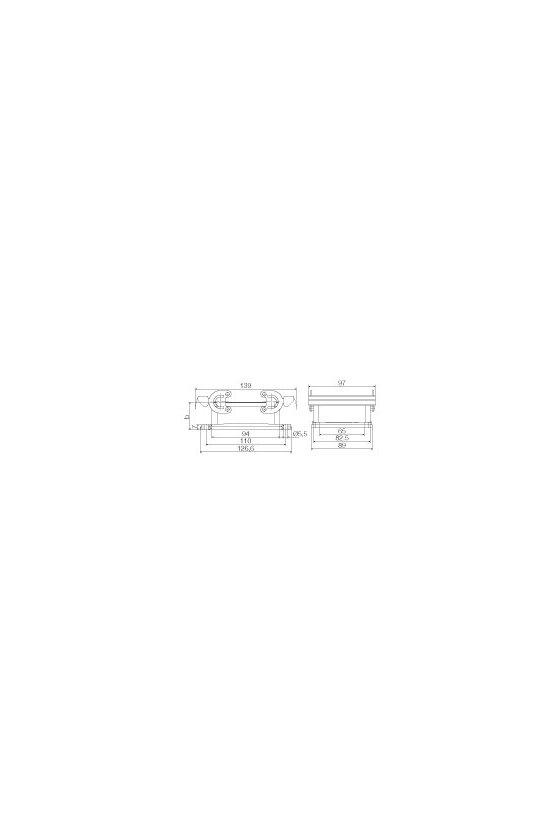 1217800000  Base abierta, Enclavamiento longitudinal en la parte inferior, Estándar, con tapa, HDC 32B ABU