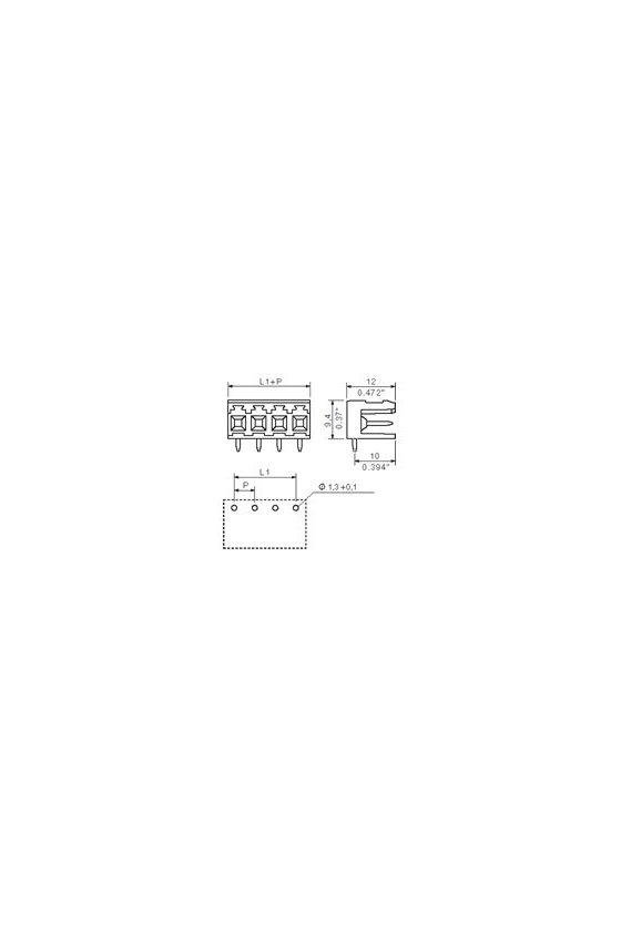 1238660000 onector para placa c.i., Conector macho, abierto lateralmente, estañado, naranja, Caja, SLA 08/90 3.2SN OR BX