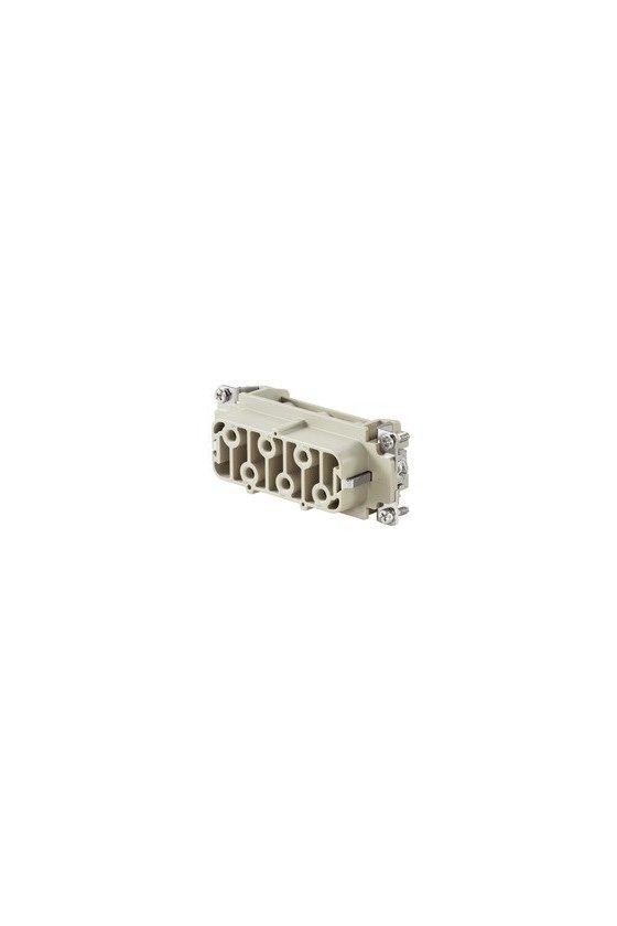 1498900000 HDC - Conector, Hembra, 400 V, 35 A, Número de polos: 6, Conexión brida-tornillo, Grupo: 6, HDC HSB 6 FS