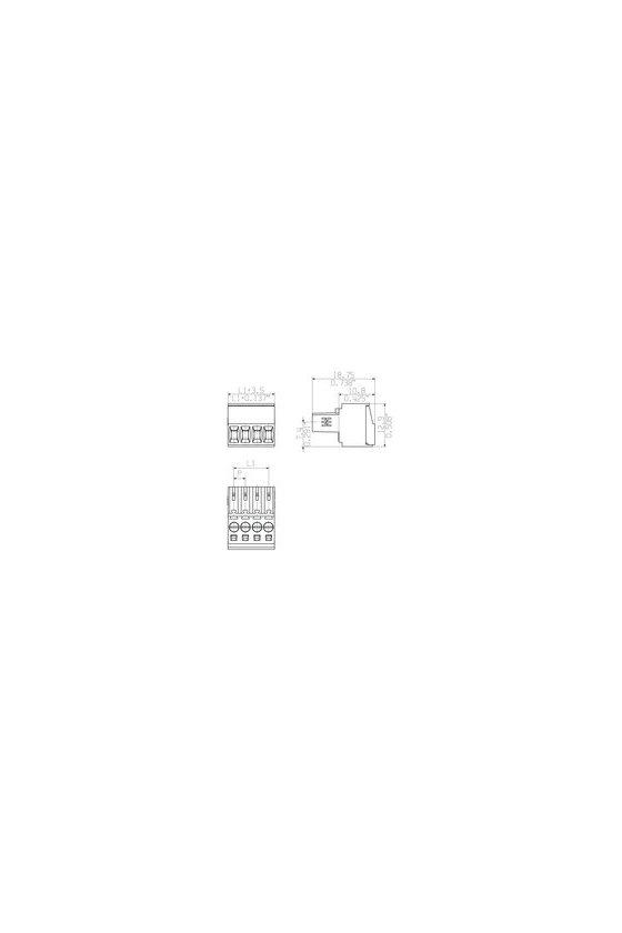 1597360000 enchufe hembra, 3.50 mm, polos: 2, 180°, Conexión brida-tornillo, Sección de embornado, Caja, BL 3.50/02/180 SN OR BX