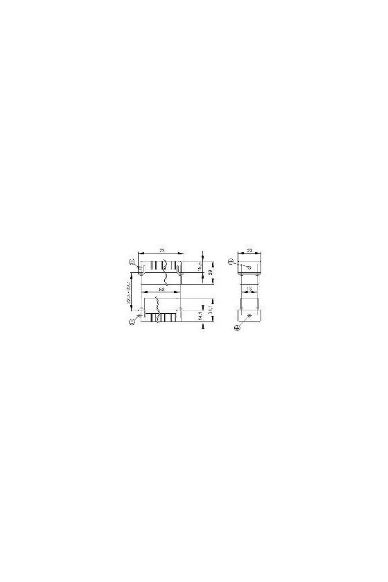 1650880000 HDC - Conector, Macho, 250 V, 16 A, Número de polos: 16, Conexión brida-tornillo, Grupo: 5, HDC HA 16 MS 17-32