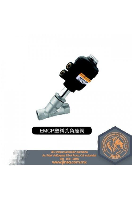 EMCP-20-50-A-S1 VALVULA ANGULAR 3/4 CUERPO ACERO INOXIDABLE ACTUADOR DE PLASTICO SIMPLE EFECTO N.C.