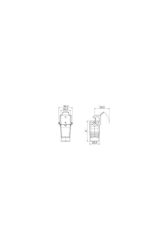 1652500000 cajas, Tipo de protección: IP65, Carcasa cerrada, Enclavamiento lateral en la parte inferior, HDC 04A KOLU 1PG11G