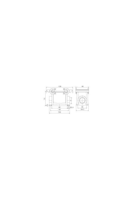 1665980000 cajas, Tipo de protección: IP65, Base cerrada, Enclavamiento lateral en la parte inferior, HDC 32A SBU 2PG21G