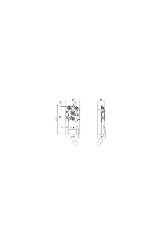 1784590000 SAI pasivo, Distribuidor pasivo para sensores y actuadores, M8, SAI-4-F 4P M8 PUR 10M