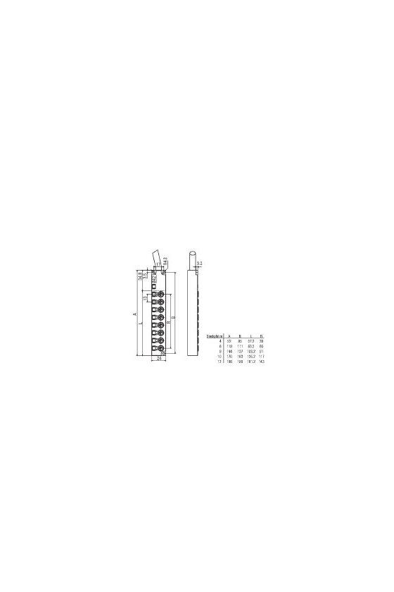 1828610000 SAI pasivo, Distribuidor pasivo para sensores y actuadores, M8, Versión de cable fijo, 10 m, Sí, SAI-8-F 4P M8 L 10M