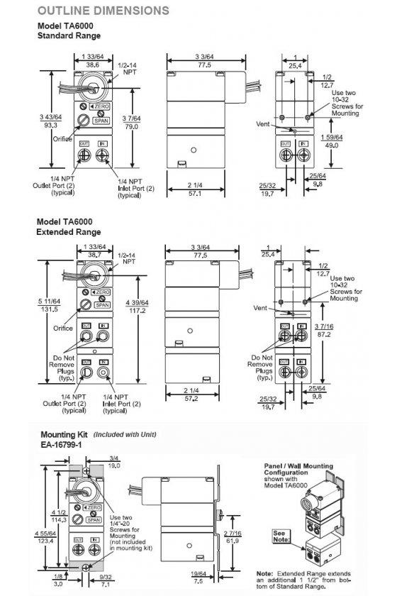 """TA6000-005  transductor e/ p , entrada de 0-10 vcc, salida de 0-60 psig , prensa de 1/4 """"npt."""
