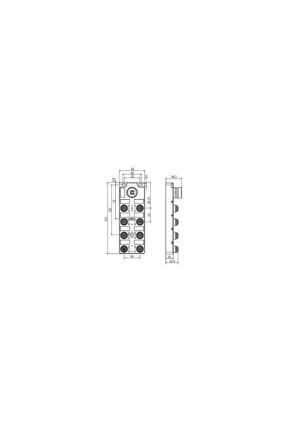 1861580000 Distribuidor pasivo para sensores y actuadores, Push-Pull, M12, Con salida M23, 19 polos, No, SAI-8-S 5P CNOMO
